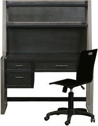Graphite 8942414DHC 3 PC Set with Desk + Hutch + Chair with Ash Veneers and Hardwood Solids Material in Black Color