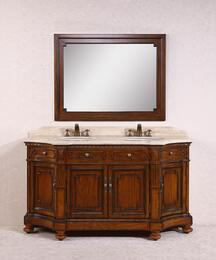 WH3368KIT 68 Solid Wood Sink Vanity With Travertine-No Faucet and Backsplash in Antique Brown with Mirror