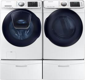 "White Front Load Laundry Pair with WF50K7500AW 27"" Washer, DV50K7500GW 27"" Gas Dryer and 2 WE357A0W Pedestals"