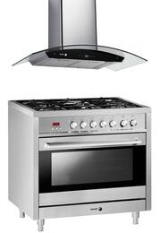 "2 Piece Stainless Steel Kitchen Package with RFA-365 DF 36"" Dual Fuel Range and 60CFG-36B 36"" Wall  Mount Range Hood"