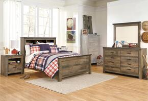 Trinell Full Bedroom Set with Bookcase Bed, Dresser, Mirror and Nightstand in Brown