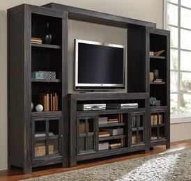 Gavelston W732TVSLPRPB 4-Piece Entertainment Center with TV Stand, Left Pier, Right Pier and Bridge in Black