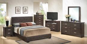 G1800KBUPSET 6 PC Bedroom Set with King Size Panel Bed + Dresser + Mirror + Chest + Nightstand + Media Chest in Cappuccino Color