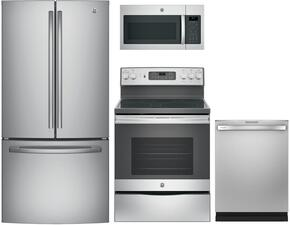 "4-Piece Kitchen Package with GNE25JSKSS 33"" French Door Refrigerator, JB655SKSS 30"" Freestanding Electric Range, JVM6175SKSS 30"" Over the Rage Micorwave Oven and GDT655SSJSS 24"" Built In Fully Integrated Dishwasher in Stainless Steel"
