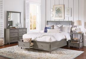 Avignon Youth Collection 1618QPBDMN 4-Piece Bedroom Set with Queen Storage Bed, Dresser, Mirror and Nightstand in Grey