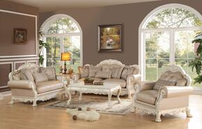 Dresden 53260SLC 3 PC Living Room Set with Sofa + Loveseat + Chair in Antique White Finish