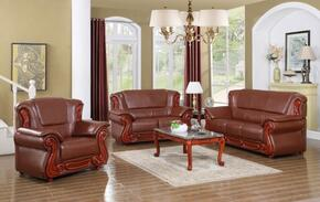 6 Piece Living Room Set with Sofa, Loveseat, Arm Chair, Coffee Table, End Table and Chaise in Cherry Finish