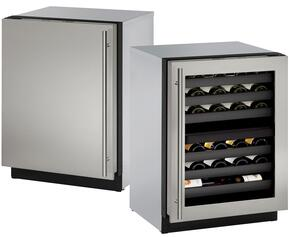 """Modular 3000 Series 2-Piece Stainless Steel Package with U3024ZWCS00A 24"""" Right Hinge Wine Captain and U3024FZRS01A 24"""" Left Hinge Upright Freezer"""