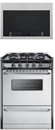 "2-Piece Kitchen Package with TTM61027BRSW 24"" Freestanding Gas Range and HMV1472BHS 24"" Over the Range Microwave Oven in Stainless Steel"
