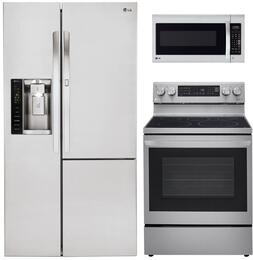 LG Side-by-Side Door-in-Door Refrigerator, Single Oven Gas Range and Over-the-Range Microwave - Stainless Steel