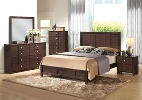 Racie 21937EK5PC Bedroom Set with Eastern King Size Bed + Dresser + Mirror + Chest + Nightstand in Merlot Finish