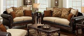 724300-SL Trixie Two Piece Living Room Set: Sofa and Love Seat with Fabric Upholstery in Radar Havana/Bi-Cast Brown