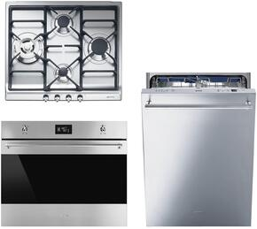 "3-Piece Kitchen Package with SR60GHU3 24"" Gas Cooktop, SC709XU 27"" Single Wall Oven, and STU8647X 24"" Fully Integrated Dishwasher"
