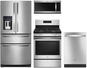 "4-Piece Stainless Steel Kitchen Package with WRX735SDBM 36"" French Door Refrigerator, WFG520S0FS 30"" Freestanding Gas Range, WMH32519HZ 30"" Over the Range Microwave, and WDT710PAHZ 24"" Built-In Dishwasher"