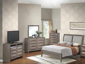 G1505AQBCHDMTV2 5 Piece Set including Queen Size Bed, Chest, Dresser, Mirror and Media Chest  in Gray.