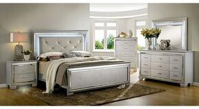 Bellanova Collection CM7979SVKBDMCN 5-Piece Bedroom Set with King Bed, Dresser, Mirror, Chest and Nightstand in Silver Finish