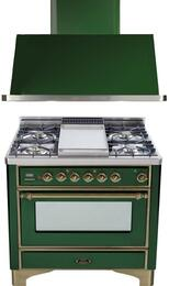 "2-Piece Emerald Green Kitchen Package with UM90FDVGGVSY 36"" Freestanding Gas Range (Oiled Bronze Trim, 4 Burners, Griddle) and UAM90VS 36"" Wall Mount Range Hood"