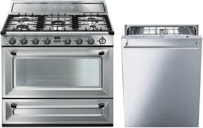 "2-Piece Stainless Steel Kitchen Package with TRU90X 36"" Dual Fuel Range and STU8649X 24"" Fully Integrated Dishwasher"