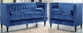 Taylor Collection 642-LTBLU-S-L 2 Piece Living Room Set with Sofa and Loveseat in Light Blue
