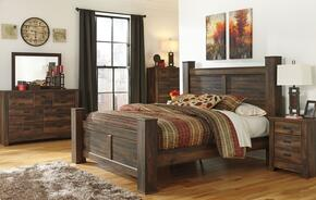 Quinden King Bedroom Set with Poster Bed, Dresser, Mirror, Nightstand and Chest in Dark Brown