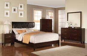 Tyler Collection 19534CKDMCN 5 PC Bedroom Set with California King Size Bed + Dresser + Mirror + Chest + Nightstand in Cappuccino Finish