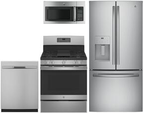 "4-Piece Stainless Steel Kitchen Package with GFE24JSKSS 33"" French-Door Refrigerator, JGB660SEJSS 30"" Freestanding Gas Range, GDF510PSJSS 24"" Full Console Dishwasher and JNM3163RJSS 30"" Over-the-Range Microwave"