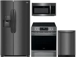 "4-Piece Stainless Steel Kitchen Package with FGSS2635TD 36"" Side by Side Refrigerator, FGGF3036TD 30"" Freestanding Gas Range, FGMV176NTF 30"" Over the Range Microwave, and FGID2466QF 24"" Fully Integrated Dishwasher"