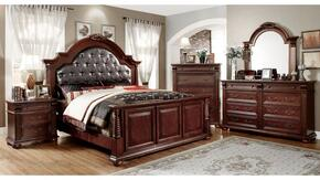 Esperia Collection CM7711QBDMCN 5-Piece Bedroom Set with Queen Bed, Dresser, Mirror, Chest and Nightstand in Brown Cherry Finish