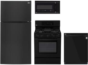 "4-Piece Kitchen Package with LTCS24223B 33"" Top Freezer Refrigerator, LRG3193SB 30"" Freestanding Gas Range, LMVM2033SB 30"" Over the Range Microwave, and LDP6797BB 24"" Built In Fully Integrated Dishwasher in Black"