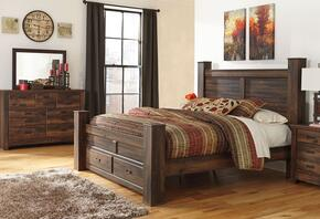 Quinden King Bedroom Set with Poster Storage Bed, Dresser and Mirror in Dark Brown Finish
