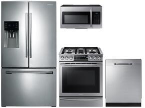 "4 Piece Kitchen Package With NX58H9500WS 30"" Slide-in Gas Range, ME16H702SES Over the Range Microwave Oven, RF28HDEDBSR 36"" French Door Refrigerator and DW80K5050US 24"" Built In Dishwasher"