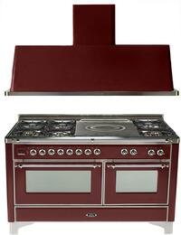 "2-Piece Burgundy Kitchen Package with UM150SDMPRBX 60"" Freestanding Dual Fuel Range (Chrome Trim, 6 Burners, French Cooktop) and UAM150RB 60"" Wall Mount Range Hood"