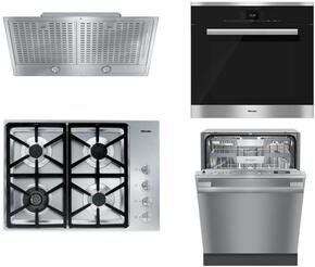 """4-Piece Stainless Steel Kitchen Package with KM3464LP 30"""" Liquid Propane Cooktop, H6680BP 30"""" Single Wall Oven, DA2580 30"""" Cabinet Insert Hood, and G6565SCVISF 24""""  Fully Integrated Dishwasher"""