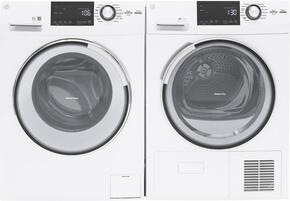 "White Front Load Compact Laundry Pair with GFW148SSLWW  24"" Front Load Washer and GFT14ESSLWW 24"" Electric Dryer"
