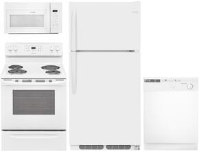 "4-Piece White Builder Package with FFTR1514TW 28"" Top Freezer Refrigerator, FFGF3005MW 30"" Gas Freestanding Range, FBD2400KW 24"" Built In Dishwasher and FFMV1645TW 30"" over the Range Microwave Oven"