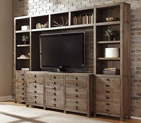 Keeblen W678TVSLPRPB 4-Piece Entertainment Center with Extra Large TV Stand, Left Pier, Right Pier and Bridge in Greyish Brown Color