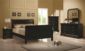 203961QSET4 Louis Philippe 4 Pc Bedroom Set in Black Finish (Bed, Nightstand, Dresser, and Mirror)Finish