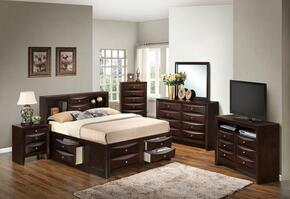G1525GKSB3DMNCHTV2 6 Piece Set including  King Size Bed, Dresser, Mirror, Nightstand, Chest and Media Chest  in Cappuccino