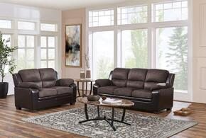U880018KD-MF-SL Two Piece Living Room Set: Sofa and Loveseat with S-Spring, Wood Frame and Microfiber/Polyurethane Upholstery in Brown