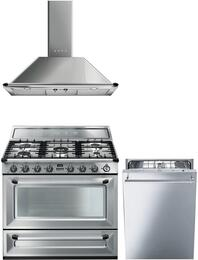"3-Piece Stainless Steel Kitchen Package with TRU90X 36"" Dual Fuel Range, KT90XU 36"" Wall Mount Chimney Range Hood, and STU8649X 24"" Fully Integrated Dishwasher"