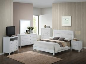 Aries Collection G2490AQBSET 6 PC Bedroom Set with Queen Size Panel Bed + Dresser + Mirror + Chest + Nightstand + Media Chest in White Finish