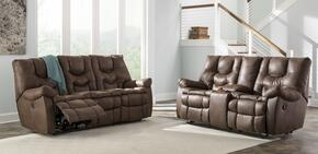 Burgett 92201882PC 2 PC Living Room Set with Reclining Sofa + Reclining Loveseat in Espresso Color