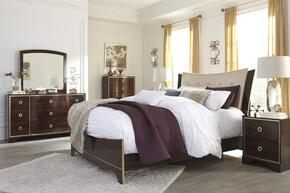 Lenmara Queen Bedroom Set with Panel Bed, Dresser, Mirror, Single Nightstand and Chest in Reddish Brown