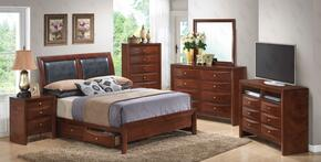 G1550DQSB2SET 6 PC Bedroom Set with Queen Size Storage Bed + Dresser + Mirror + Chest + Nightstand + Media Chest in Cherry Finish
