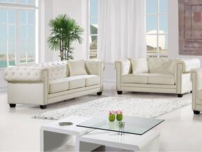 Bowery Collection 6142PCSTLKIT4 2-Piece Living Room Sets with Stationary Sofa, and Loveseat in Cream
