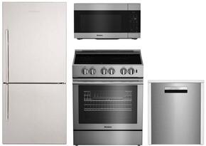 """4-Piece Kitchen Package with BRFB1822SSN 30"""" Counter Depth Bottom Freezer Refrigerator, BIRP34450SS 30"""" Slide-in Electric Range, BOTR30100SS 30"""" Over-the-Range Microwave oven and DWT58500SS 24"""" Built In Fully Integrated Dishwasher"""