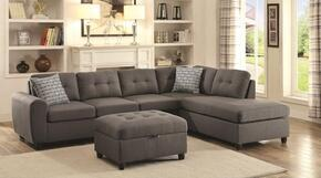 "Stonenesse 500413 110"" Grey Contemporary Sectional and Ottoman in Grey Fabric Upholstery"
