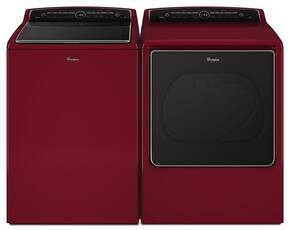 "Cabrio Red Top Load Laundry Pair with WTW8500DR 28"" Steam Washer and WGD8500DR 29"" Gas Steam Dryer"