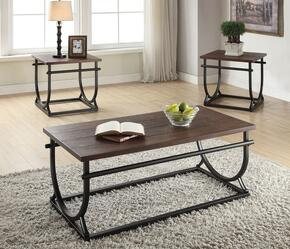 Debbie 80455CE 3 PC Living Room Table Set with Coffee Table + 2 End Tables in Cherry Finish