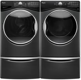 "Black Diamond WFW9290FBD 27"" Front Load Washer with WGD92HEFBD 27"" Gas Dryer and 2 XHPC155YBD Laundry Pedestals"
